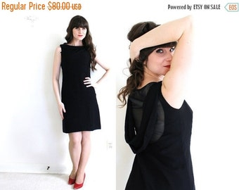 ON SALE 1960's Dress / 60s Little Black Dress / Backless Illusion Dress