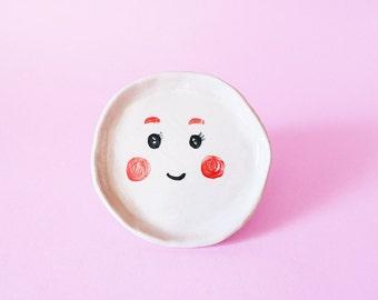 Kawai Round Ceramic Plate, Kawai Round Hand-Built Plate, Kawai Round Trinket Dish