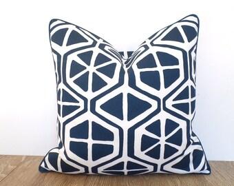 Blue outdoor pillow cover 18x18 nautical decor, geometric cushion piping modern outdoor decor