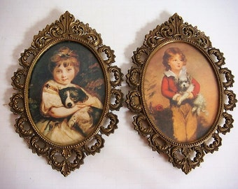 Set of Brass Ornate Frames Victorian Children and Puppies Prints Italy FR1 BIS