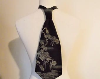 Men's cravat tie made with vintage formal black KIMONO silk crape land scape black white beige blue fits 15 -20inch ready to ship