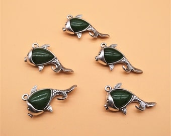 Rhinestone Fish Charms - Hollow Carved Charm, Fish Charm, Antique Silver, Gemstone Charm, Green Gemstone, Green Rhinestone