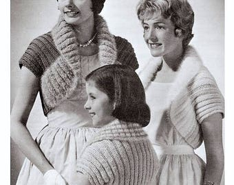 Immediate Download - Knitting Pattern Boleros - S/M/L Easy and Quick Knit