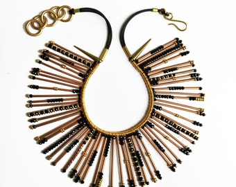 Abacus Squared - Statement Necklace, Egyptian Inspired Jewelry, Beaded Collar, Spike Necklace, Unique Jewelry, Bead Jewelry, Fashion