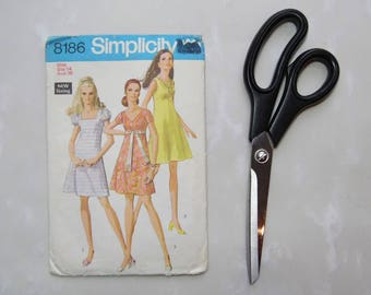 Vintage Simplicity 8186 1969 Sewing pattern For Dress Empire Waistline and Flared Skirt, Size 14, Bust 36