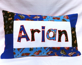 911 - Personalized Pillow featuring fire trucks, ambulances and police cars