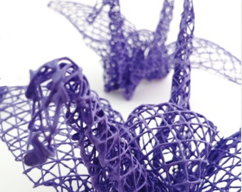 Wise Purple wire mesh origami cranes