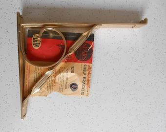 Elgin Aluminum Shelf Brackets NOS Shelf Brackets Shiny Gold Aluminum Brackets Set of 2 Brackets for 10-Inch Shelves