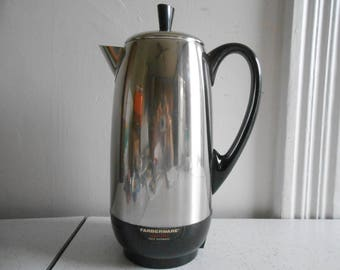 Vintage Faberware Superfast Fully Automatic Coffee Percolator 2-12 Cup Electric Coffee Percolator Chrome and Black Percolator Mid Century