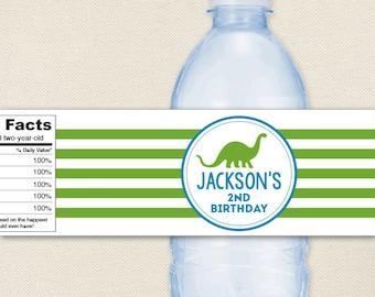 Dinosaur Party - 100% waterproof personalized water bottle labels