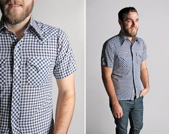 Vintage Blue and White Gingham Snap Shirt - Button Up Woven Country Short Sleeve Western Rodeo Cowboy Retro Summer Oxford - Size Small