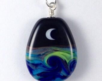 Moon Seascape Handmade Lampwork Bead Pendant w/ Sterling Silver