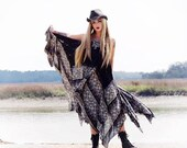 L XL Black maxi, Boho Gypsy soul dress, Free spirit Bohemian maxi sundress, Bohemian Beach dress, Hippie festival dress, True rebel clothing