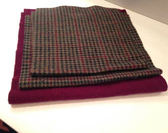 5427 - felted pure wool/3-piece Combo/ houndstooth and solid/WoolenCrow Price 11.50/ Burgundy-green-tan /sewing/quilting/wool felt