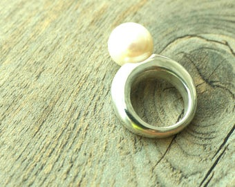 Chunky Contemporary Large Freshwater Pearl Sterling Silver Ring #2