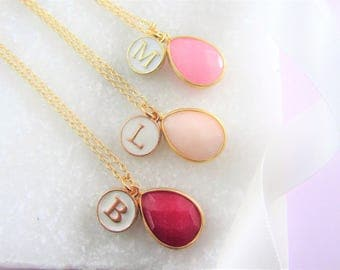 Pink Gemstone and Initial Necklace Set, Bridesmaids Gifts, Monogram Necklace, Personalized Jewelry, Best Friend Necklaces,Flower girl Gifts,