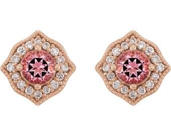 Pink Topaz & Diamond 14kt Rose Gold Studs, Gold Topaz Earrings, Birthstone Studs