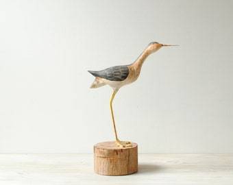 Vintage Shore Bird Figure, Hand Painted Handmade Bird Decoy