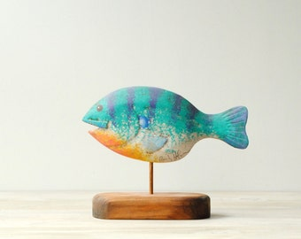 Vintage Wood Fish Decoy by Artist Randy Hofman