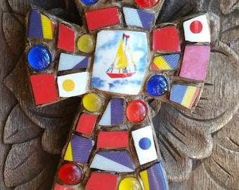 Little Red Sailboat Nautical Mosaic Cross