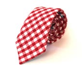 Red Gingham Tie red gingham necktie Mens Ties men's ties Mens Neckties red tie Red and White Tie cotton ties Groomsmen Tie wedding ties