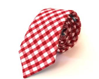 Red Gingham Tie red gingham necktie Mens Ties men's ties Mens Neckties red tie Red and White Tie cotton ties Groomsmen Tie wedding ties