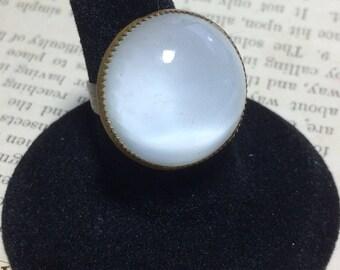 Repurposed Cufflink White Ring