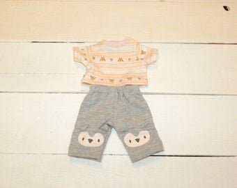 Grey Pants and Pink Patterned Tshirt - 12 inch doll clothes
