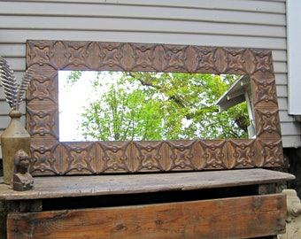 Old Ceiling Tin Tile Mirror.  Rustic mirror. Architectural salvage. Rusty primitive farmhouse mirror.  Pressed tin mirror. Wall mirror