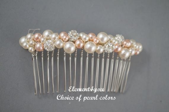 Bridal hair comb, wedding hair accessories, bridal hair pieces, rhinestone hair comb, wedding hair comb, bridal pearl, Ivory Champagne mix