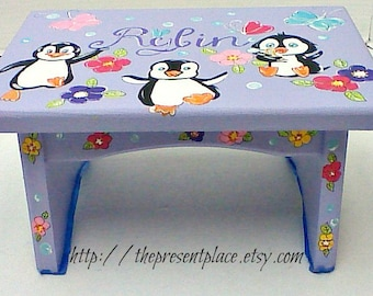 personalized,penguin step stool,customized step stool,lavender,penguins,girls step stool, kids bench, baby's stepstool, childrens bench