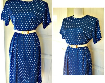 Vintage 80s dress blue and white polka dot with belt, vintage dress, career dress, size large size 12
