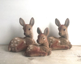 Vintage Flocked Deer 3 Deer Hand Painted Hong Kong  Woodland