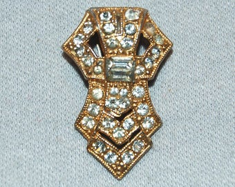 Vintage / Dress Clip / Clear / Rhinestone / Art Deco / Bridal / Sparkling / Collectible / old jewelry