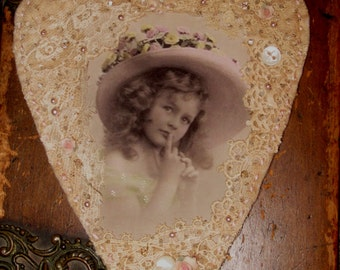 Vintage Lace Collage Hanging Heart  French Spring Girl