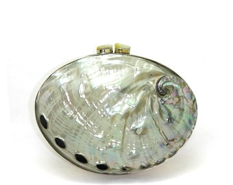 SALE Repaired Pearlized Red Abalone Shell Minaudiere / Clutch Bag