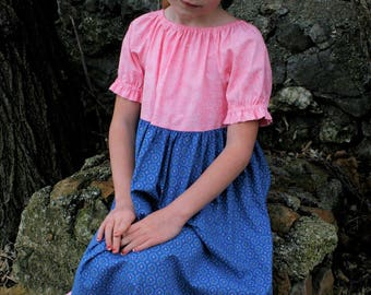 Girls Handmade Modest Short Sleeve Pink and Blue Ruffled Peasant Dress Size 6