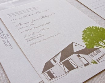 Barn Wedding Invitation, Digital printed SAMPLE