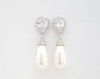 Wedding Pearl Earrings Bridal Jewelry Cubic Zirconia Pearl Bridesmaid Earrings Swarovski Pearl Drops Wedding Jewelry, Aria