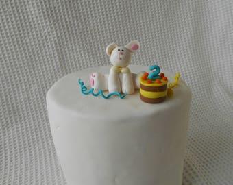 Bunny Rabbit Cake topper Celebration Party White Rabbit Childs Birthday Cake Party Decoration