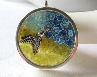 Hummingbird Necklace Bird Flower Necklace in 3D Diorama Necklace Stained Glass Necklace for Bird Lover Jewelry Blue Poppy Necklace for Girls