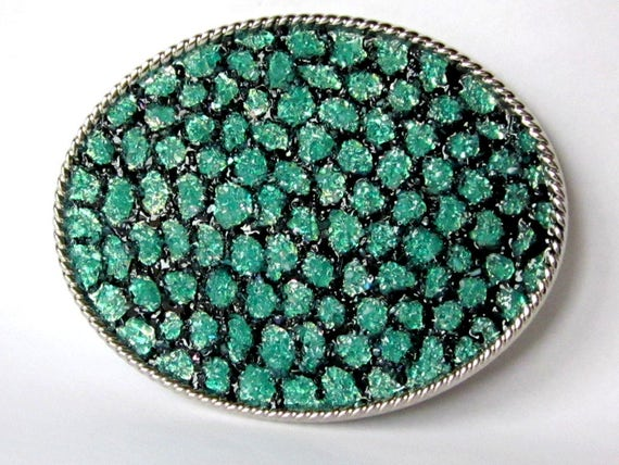 Mermaid Tail Belt Buckle Silver Turquoise Stained Glass Mosaic