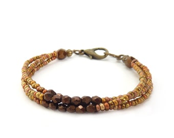 Metallic Seed Bead Friendship Bracelet - Gold Copper Bronze Multistrand Bracelet - Delicate Jewelry - Holiday Gift for Her