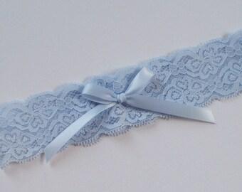Wedding Toss Garter, Light Blue Stretch Lace, Light Blue Bow