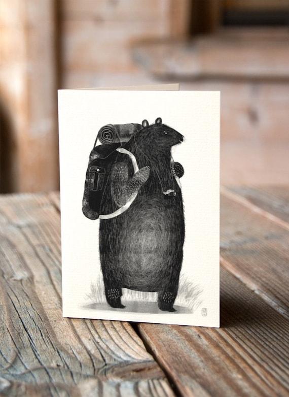 Backpack Bear - Never Stop Exploring - Greetings Card