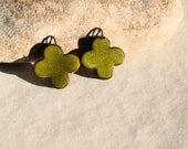 MADE to ORDER -  2 handmade charms for earrings or necklace - red clover high fired  ceramic clay pottery supply