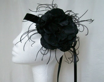 Black Rose Flapper Band- Ostrich Feather and Crystal 1920's Gatsby Style Ribbon Tie Headband -Gothic Roaring 20's - Made to Order