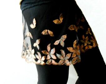 Black Dress Extender, Long Shirt Extender, Half Slip Extender, Black skirt with lace Leaf