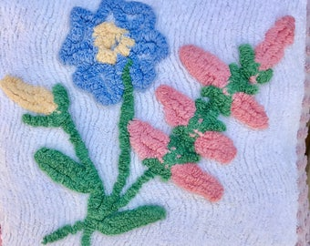 Mauve Pink Blue Vintage Chenille Patchwork Pillow Handmade Doodaba Lake Patio Nursery baby