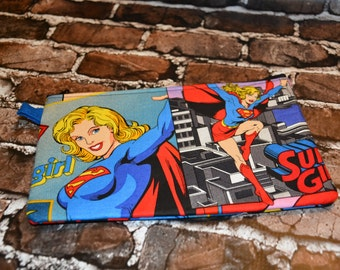 Supergirl Inspired Zipper Bag/ Pencil bag/ Makeup Bag/ Birthday gift/ Gift for Her/ Gift for Him/ Christmas Gift/ Accessory bag